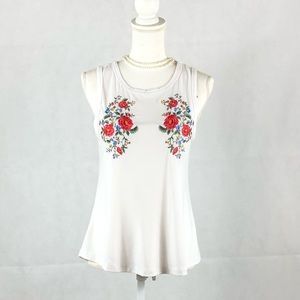 Sz S  Wishful Park Embroidered Floral Tank…